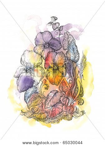 Handwritten drawing flowers pansies