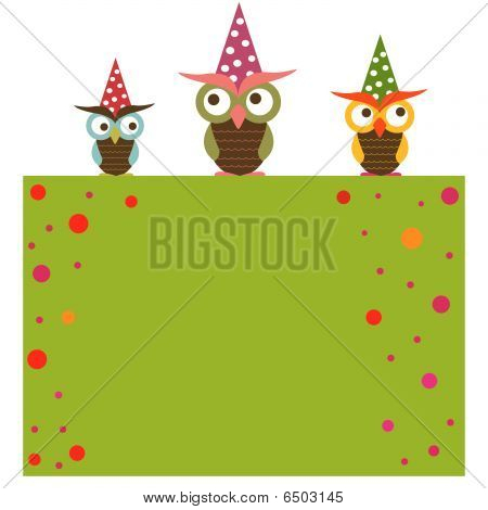 Funny background with three owls