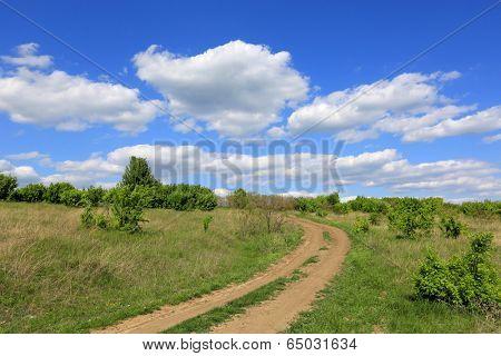 Rut road in steppe under nice sky