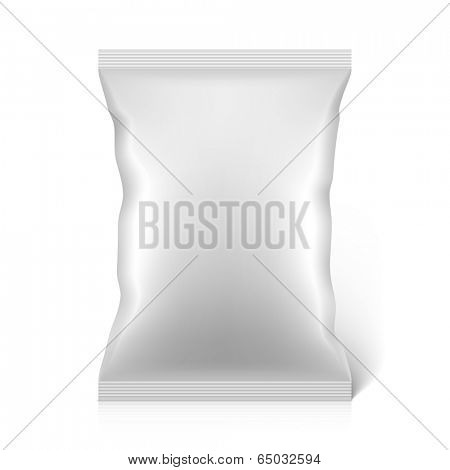 White blank snacks food foil packaging bag. Vector.