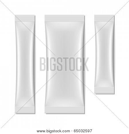 White blank sachet packaging, stick pack. Vector.