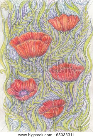 Abstract Background With Handwritten Painted Poppy Flowers And Floral Ornaments.