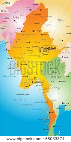 Vector map of Myanmar country
