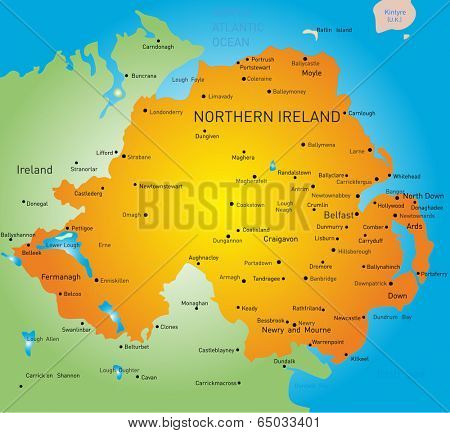 Abstract vector color map of Northern Ireland country