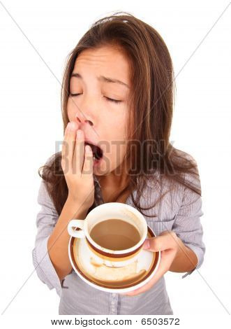 Tired Woman Yawning