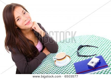 Woman At Cafe Isolated