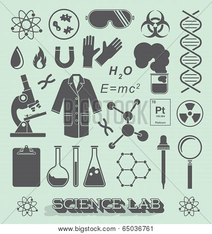 Vector Set: Scientist Lab Icon and Symbols