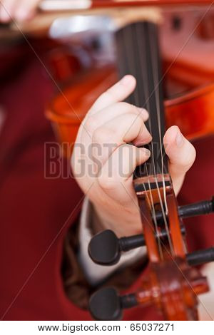Girl Playing Fiddle - Chord On Fingerboard