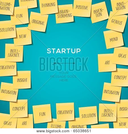 Start Up concept template with post it notes