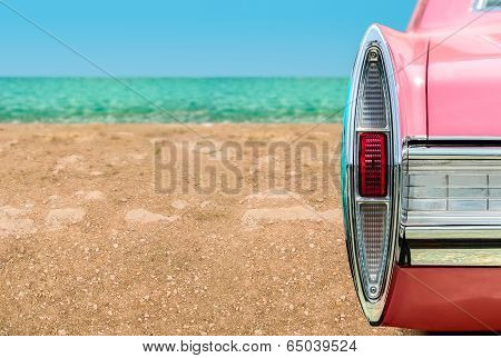 Pink Car On The Beach