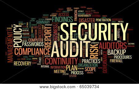 Security audit  in word tag cloud on black