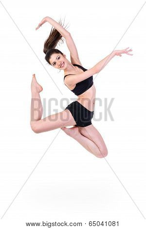 ballet dancer. happy woman jumping, isolated on white