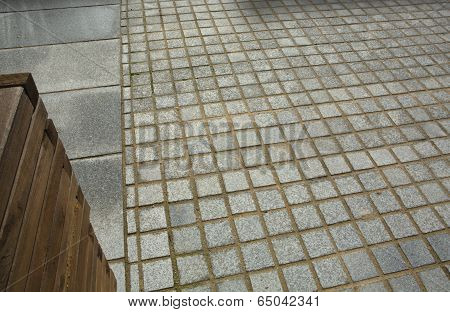 Granite Pavement And Wooden Planter