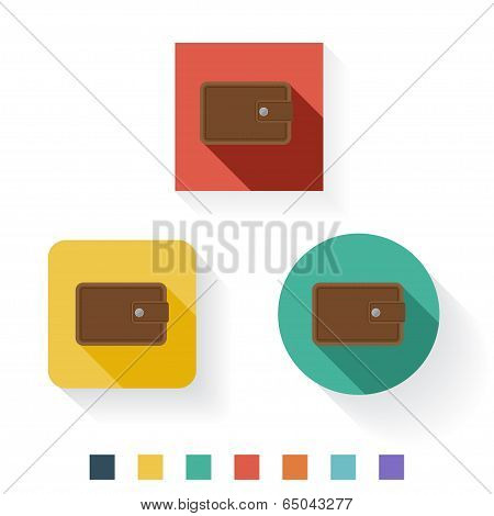 Wallet Flat Icon Design