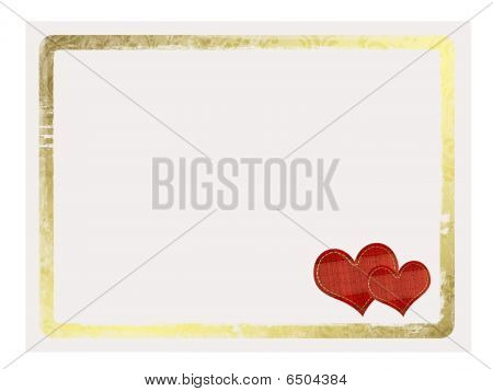 Valentines Day Card With Hearts On The White Isolated Background