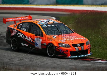 SEPANG, MALAYSIA - MAY 10, 2014: The Holden 888 VE car of Craig Corliss takes to the track at the Thailand Supercar GTM race of the Thailand Super Series Rd 1 in Sepang International Circuit.