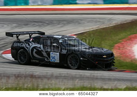 SEPANG, MALAYSIA - MAY 10, 2014: The Chevrolet Camaro car of Tomas Enge takes to the track at the Thailand Supercar GT3 race of the Thailand Super Series Rd 1 in Sepang International Circuit.