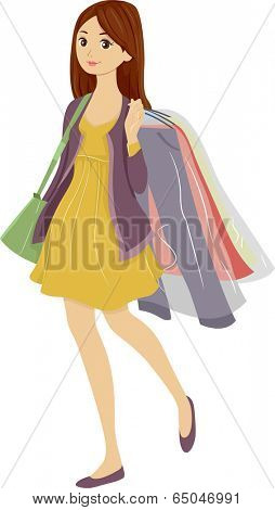 Illustration of a Teenager Carrying Clothes She Picked Up from the Dry Cleaners