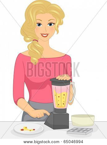 Illustration of a Girl Mixing Fruits in the Blender