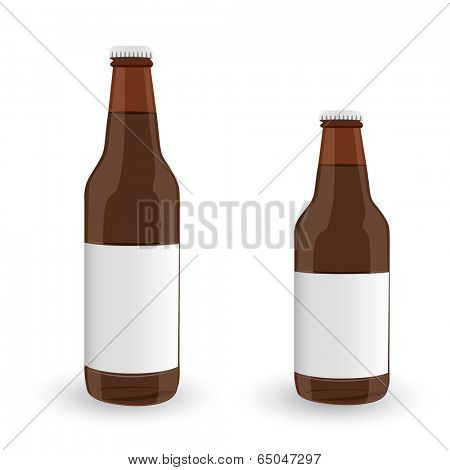 Glass Beer Brown Bottles On White Background Isolated. Vector EPS10