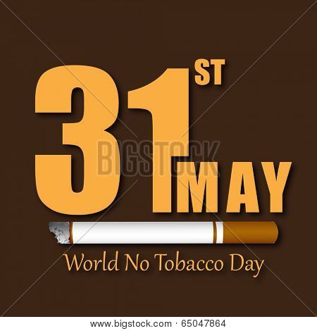 Poster, banner or flyer design for World No Tobacco Day with stylish text and cigarette on brown background.