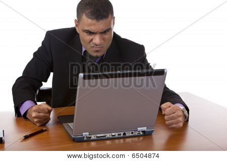 Businessman Is Stressed With Computer Crash