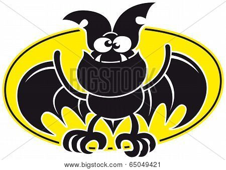 Cool bat opening its wings and posing with a yellow oval as background
