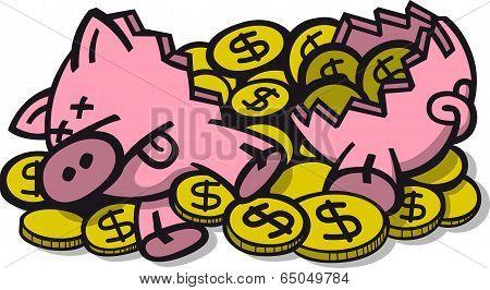 Broken money pig