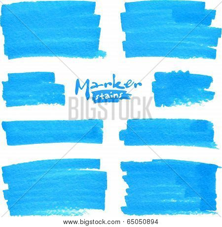 Blue vector marker stains set