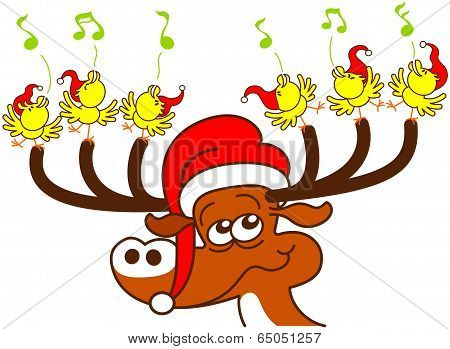 Deer and chickens celebrating Christmas