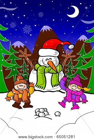 Snowman and children playing in the snow and celebrating Christmas