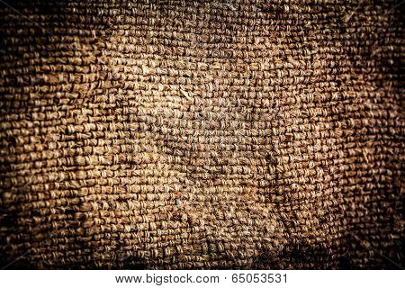 Grunge Background Of Textile Texture. Dark Natural Linen Rough Texture For Background. Fabric Textur
