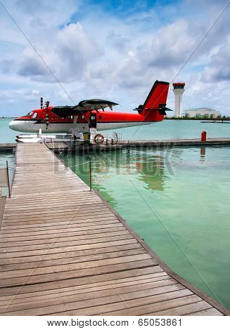 Maldives. A seaplane at a mooring at ocean.
