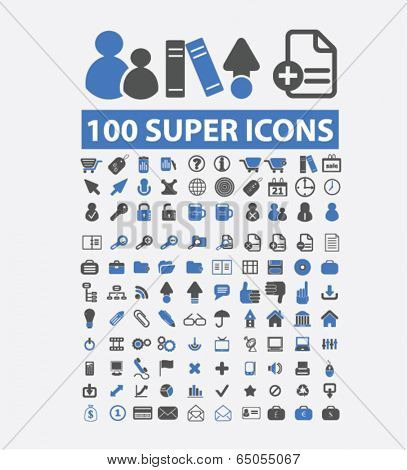super office icons set, vector