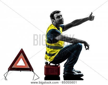 one man with yellow vest car breakdown waiting isolated on white background