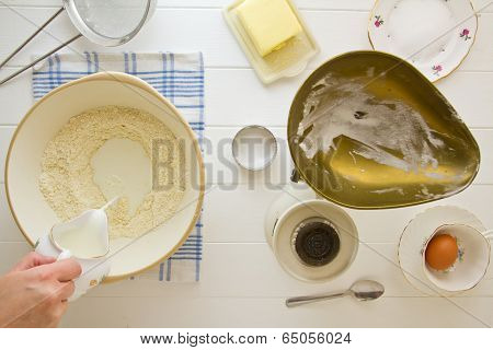 English Scones Ingredients Above, Adding Milk