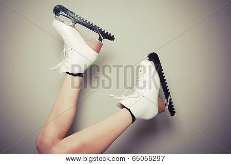 Woman Wearing Ice Skates