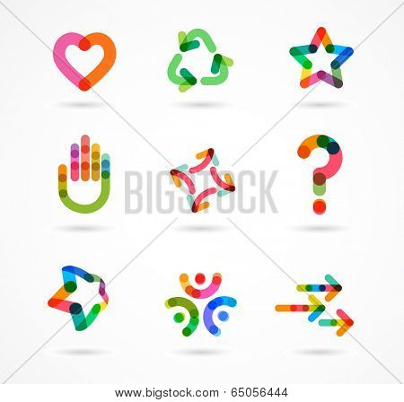 Collection of abstract colorful business icons and elements
