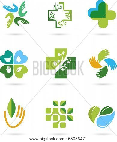 Natural Alternative Herbal Medicine and Healthcare icons and element set