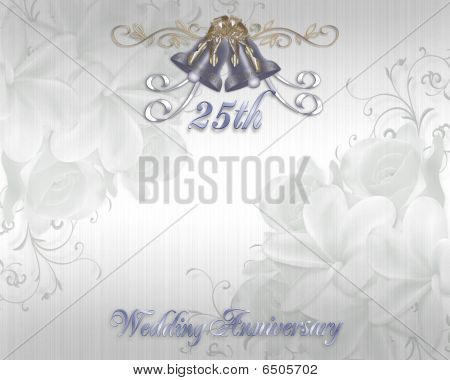 25th Wedding Anniversary Invitation silver bells Stock photo