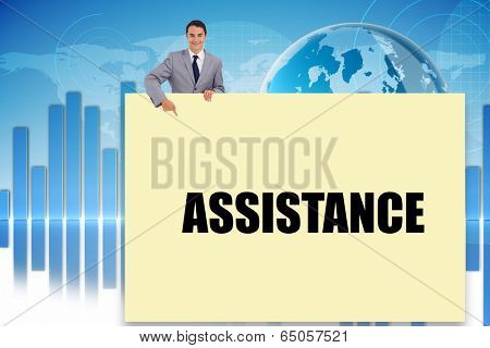 Businessman showing card saying assitance against digital background