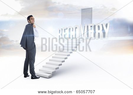 The word recovery and smiling businessman standing against white steps leading to closed door