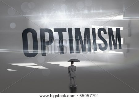 The word optimism and rear view of classy businessman holding grey umbrella against digitally generated room with bordered up window