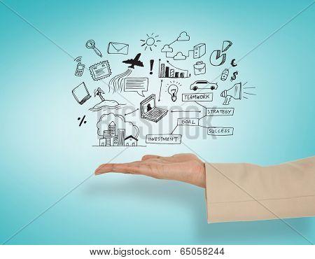 Female hand presenting computing icons against blue vignette