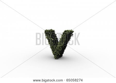 Lower case letter v made of leaves on white background