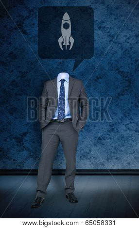 Composite image of headless businessman with rocket in speech bubble against dark grimy room