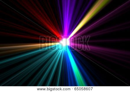 Digitally generated bright colourful laser beams shining