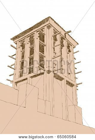 Hand Drawn Sketch Of Wind Tower Architecture In Dubai, United Arab Emirates