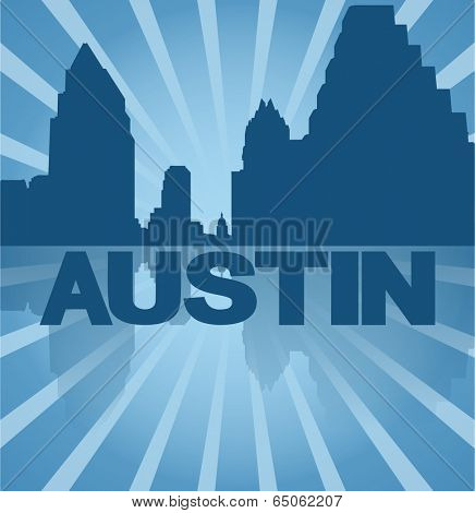 Austin skyline reflected with blue sunburst vector illustration