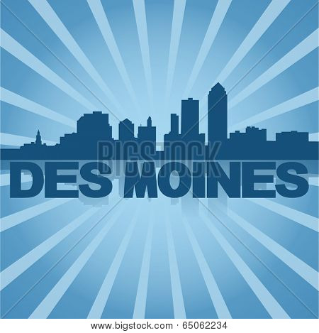 Des Moines skyline reflected with blue sunburst vector illustration